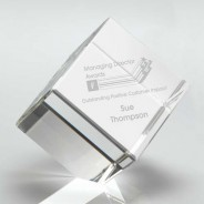 Clear Glass Cube Paperweight in Box