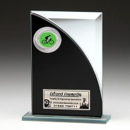 Black & Silver Glass Award with Cycling Insert