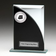 Black & Silver Glass Award with Dominoes Insert