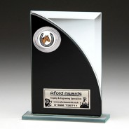 Black & Silver Glass Award with Equestrian Insert