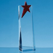 Optical Crystal Rectangle with a Brilliant Red Star Award