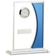 Mirrored Blue Glass with Clock
