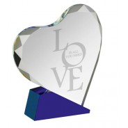 Clear and Blue Optical Crystal Heart Shaped Gift
