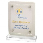 White Wood Plaque with Clear Base and Removeable Front