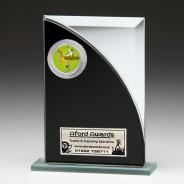 Black & Silver Glass Award with Gymnastics Insert
