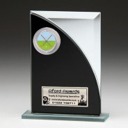 Black & Silver Glass Award with Hockey Insert