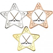 Ice Hockey Star Shaped Medals