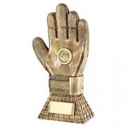 Bronze/Gold Football Goalkeeper Glove On Net Base Trophy
