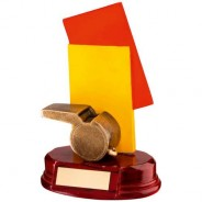 Bronze/Red/Yellow Resin Referee 'Cards and Whistle' Trophy