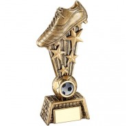 Bronze/Gold Football Boot On Stars With Net Base Trophy