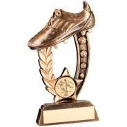 Bronze/Gold Resin Raised Football Boot Trophy