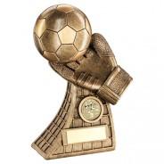 Bronze/Gold Football And Goalkeeper Glove On Net Base Trophy