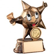Bronze/Gold Resin Football 'Comic Star' Figure Trophy