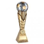 Bronze / Pewter Football on Leaf Burst Column Trophy - Managers Player