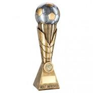 Bronze / Pewter Football on Leaf Burst Column Trophy - Most Improved
