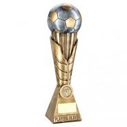 Bronze / Pewter Football on Leaf Burst Column Trophy - Players Player