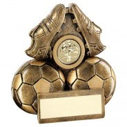 Bronze / Gold Two Footballs and Boots Flatback Trophy