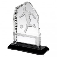 Clear Glass Frosted Football Iceberg On Black Base Trophy
