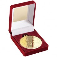 Red Velvet Box and 50mm Medal Football Trophy