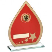 Red/Gold Printed Glass Teardrop with Boxing Insert Trophy