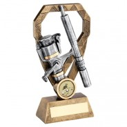 Bronze/Pewter/Gold Angling Rod And Reel On Diamond Trophy