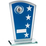 Blue/Silver Printed Glass Shield with Angling Insert Trophy