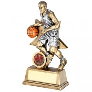 Bronze/Orange Male Basketball Figure With Star Backing Trophy