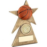 Bronze/Gold/Orange Basketball Star on Pyramid Base Trophy