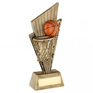 Bronze/Gold/Orange Basketball And Net On Pointed Backdrop Trophy