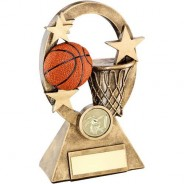 Bronze/Gold/Orange Basketball Oval/Stars Series Trophy