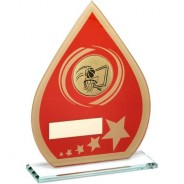 Red/Gold Printed Glass Teardrop with Basketball Insert Trophy