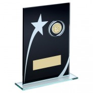 Black/White Printed Glass Plaque With Basketball Insert Trophy