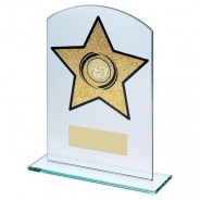 Jade Glass Arched Rectangle Trophy with Basketball Insert