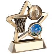 Bronze/Gold Netball Mini Star Trophy