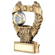 Bronze / Gold Netball 3 Star Wreath Trophy