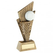 Bronze/Gold/White Netball And Net On Pointed Backdrop Trophy
