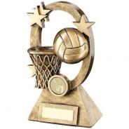 Bronze/Gold Netball Oval/Stars Series Trophy