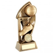 Bronze / Gold Netball with Twisted Backdrop Trophy