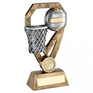 Bronze/Pewter/Gold Netball With Net On Diamond Trophy