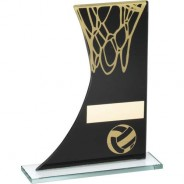Black/Gold Printed Glass Plaque with Netball/Net Trophy
