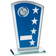 Blue/Silver Printed Glass Shield with Netball Insert Trophy