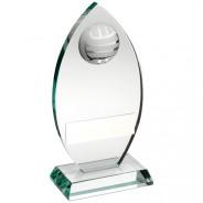Jade Glass Plaque With Half Netball Trophy