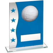 Blue/Silver Printed Glass Plaque With Netball Image Trophy