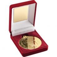 Red Velvet Box and 50mm Medal Netball Trophy