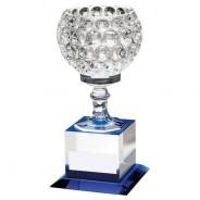 Clear/Blue Glass Goblet on Block Base Trophy