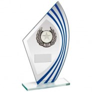 Jade/Blue/Silver Sail Glass with Silver/Black Wreath Trim Trophy