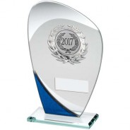 Jade/Blue/Silver Glass Plaque with Silver Trim Trophy
