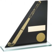 Black/Gold Printed Glass Plaque with Hockey Stick/Ball Trophy
