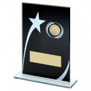 Black Printed Glass Plaque with Hockey Insert