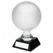 Clear Glass Golf Ball On Black Base Trophy